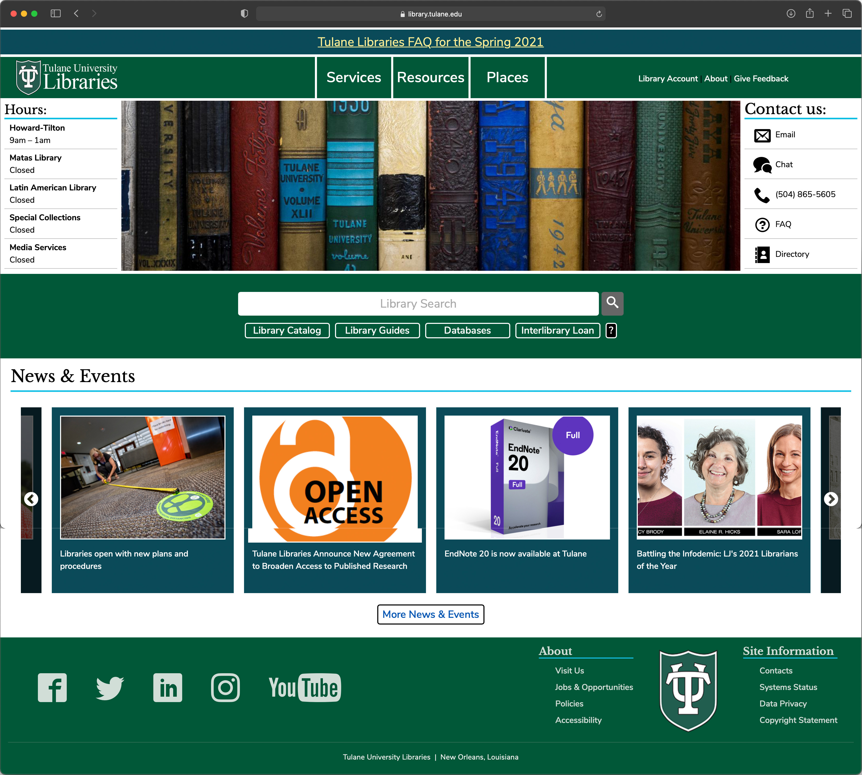 Tulane Libraries Website - Desktop version